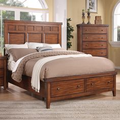 Mango Wood Panel Storage Bed by Winners Only