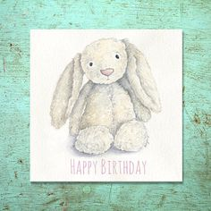 Taken from original watercolour of Ellies Jellycat Bunny  Supplied with white envelope 148x 148mm 250gsm Gesso card Left blank inside for your
