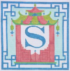 Kate Dickerson Needlepoint Chinoiserie letters collection