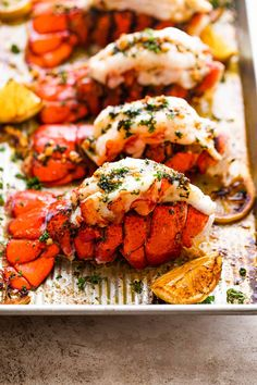 Fancy baked lobster tails served with a garlic butter sauce is the perfect romantic, or any special occasion dinner. Juicy, delicious, but real EASY to make restaurant-style lobster tails are ready in under 20 minutes and they are amazing! #lobstertails #valentinesdaydinner #lowcarbrecipe #ketodinner Easy Baked Lobster Tail Recipe, Lobster Tail Oven, Baked Lobster Tails, Baked Lobster Recipes, Crab Stuffed Lobster Tail Recipe, Fresh Lobster, How To Cook Lobster, Fish Recipes, Seafood Recipes