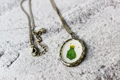 Christmas Tree Brass Necklace  White Dried Flower by ModernElm, $18.00