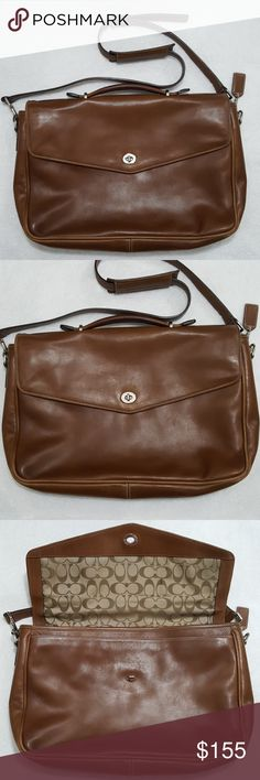 "Coach Brown Leather Classic Lexington Briefcase This is a brown leather Lexington style briefcase from Coach. It can also be used as a messenger or laptop bag.  Normal wear. No holes or tears. Signature Coach monogram lining. Multiple interior pockets and two slip pockets (one on exterior). Nickel hardware. Approx. 16"" long, 10.5"" tall and 3.5"" wide.  Bundle & save.   3097 Coach Bags Briefcases"