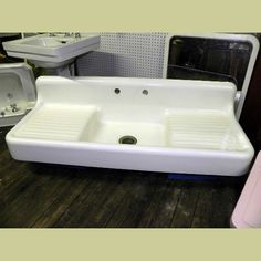 This Is My Sink! LARGE ANTIQUE DOUBLE DRAINBOARD CAST IRON KITCHEN SINK :  Architectural Artifacts