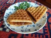 Aren't waffle hearts pretty? If you add raspberry or apricot jam, they are even prettier. International Waffle Day, Waffles, Raspberry, Hearts, Breakfast, Pretty, Desserts, Recipes, Food