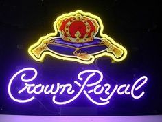 Crown Royal Real Glass Neon Light Sign Home Beer Bar Pub Recreation Room Game Lights Windows Garage Wall Signs Pub Signs, Beer Signs, Wall Signs, Neon Light Signs, Led Neon Signs, Crown Royal Whiskey, Bedside Table Decor, Best Gifts For Him, Garage Walls