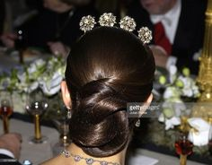 from the back Diamond Tiara, Princess Victoria, Tiaras And Crowns, Headgear, Updos, Leather Skirt, Sweden, Royals, Hair