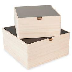 2 boîtes en bois L 17 et L 21 cm LOGAN