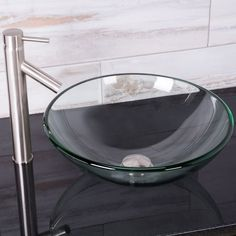 The VIGO Crystalline Glass Vessel Sink And Dior Vessel Sink In A Brushed  Nickel Finish Is