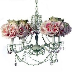 Pink Rose Chandelier, Gilbert Design Chandelier from Luxury Baby Nursery. Saved to Bambino Decor. Green Chandeliers, Modern Chandelier, Nursery Chandelier, Rose Queen, Arte Floral, Rose Cottage, Mirror With Lights, Shabby Chic Style, Rose Bouquet