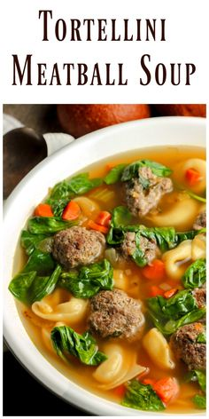 Tortellini Meatball Soup is just amazing. Filled with spinach and homemade meatballs to make it hearty as well as delicious. via @https://www.pinterest.com/BunnysWarmOven/bunnys-warm-oven/
