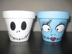 Hand Painted Jack Skellington and Sally Garden Pots Set Disney | eBay