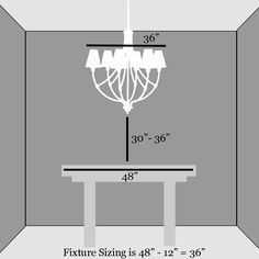 "A dining room chandelier should be no wider than 12 inches less the width of the table and should sit 30"" above the top of the table for a standard 8' ceiling. Raise the fixture 3"" for each additional foot of ceiling height"