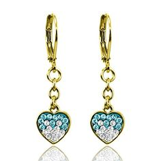 798f756cb Little Girls Earrings with Two Color Crystal Hearts- 14kt Gold Plated Lever  backs Fashion Jewelry