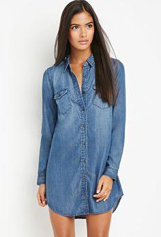 Contemporary Flap-Pocket Chambray Shirt Dress | LOVE21 - 2000156373