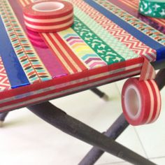 For my craft table - Washi tape your boring old table! (You could do this to other things too. Tape Crafts, Sewing Crafts, Sewing Projects, Washi Tape Furniture, Decoupage Chair, Handmade Crafts, Diy Crafts, Tapas, Good Tutorials