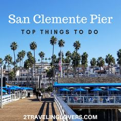 One of our favorite spots to hang out in all of Southern California is the San Clemente Pier! If you are planning a visit or vacation to Southern California, San Clemente has many beautiful beaches, great food, and endless activities. Southern California Beaches, California Vacation, California Dreamin', San Clemente Beach, San Clemente California, Cool Places To Visit, Places To Go, Balboa Beach, San Diego Travel