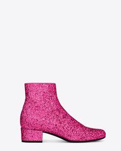 a2d98a2f21a Saint Laurent, Babies 40 Central Cut Bootie in Pink Metallic Glitter Fabric  Glitter Fabric,