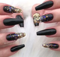 Coffin nails Black with Glitter #nails #coffin | Black ...