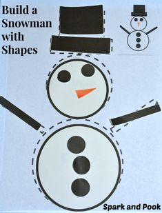 """With this activity your toddler or preschooler will practice naming and sorting circles and rectangles and have fun """"building"""" a snowman in the process."""