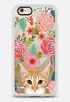 Orange Tabby Cat Florals - sweetest orange cat in hand painted watercolor florals design on clear phone case for cat ladies and cat owners iPhone 6 case by Pet Friendly | Casetify