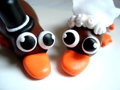 Perry the Platypus? Nope. Platypus Wedding Cake Topper by MagicalGifties on Etsy, $54.99