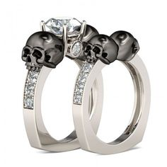 Jeulia Two Tone Round Cut Created White Sapphire Skull Ring - Jeulia Jewelry