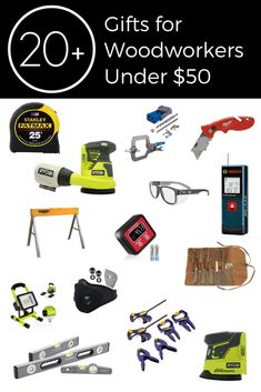 20+ Great gift ideas for men under $50! Use these as gifts, stocking stuffers, or gift exchange presents! Amazing ideas for woodworkers and mechanics (male or female!) for less than $50! Some ideas include digital angle measuring tools, clamp sets, power tools, and laser distance measuring tool. The guys on your list will love these ideas! Great gift guide for Christmas, Father's Day, Birthdays, or any gift giving occasion! #present #Holiday #affordable #giftguide