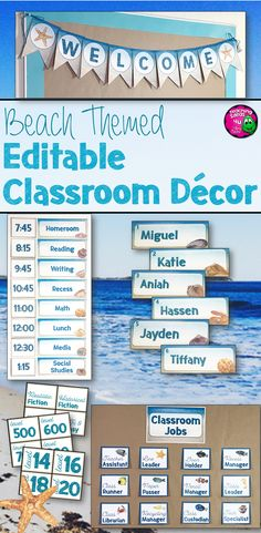 This ocean themed classroom decor set will appeal to students of all ages! This resource includes editable blank labels. The labels have text boxes, so all teachers have to do is select the font and color they would like and type. Classroom Decor Themes, Classroom Jobs, Classroom Organisation, Classroom Setting, Classroom Management, Class Displays, Classroom Displays, Ocean Themes, Beach Themes
