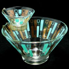 Atomic Blue Gold Moderne Chip Dip Set Anchor Hocking Vtg MIB