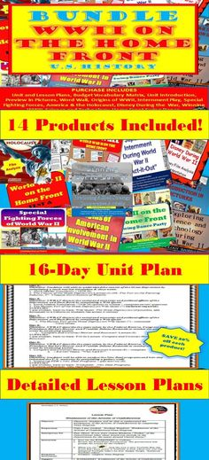 """BUNDLE – World War II on the Home Front– 16 Day Unit Plan (secondary U.S History)  This BUNDLE includes everything you need to teach a 16-day unit on """"World War II on the Home Front"""" for your secondary U.S. History class. Common-Core aligned!  Purchase in BUNDLE and you will automatically save 20% off of each product!  A pacing guide and detailed lesson plans are included! """"Work smarter not harder!"""" Click to see more information!"""