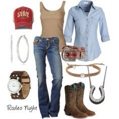 Cute outfit, complete with Ariat women's saddle vamp Legend riding boot. Country Girl Outfits, Rodeo Outfits, Country Wear, Country Fashion, Western Outfits, Western Wear, Fall Outfits, Casual Outfits, Summer Outfits