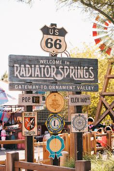 Welcome to Radiator Springs. Radiator Springs is a fictional town in the Cars series created as a composite of multiple real places on historic U. Route 66 from Kansas to Arizona. Old Route 66, Route 66 Road Trip, Historic Route 66, Travel Route, Route 66 Arizona, Flagstaff Arizona, Disneyland California, Disney California Adventure, Anaheim California