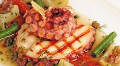 Octopus with Tomato Jam, Chorizo with Artichoke Hearts