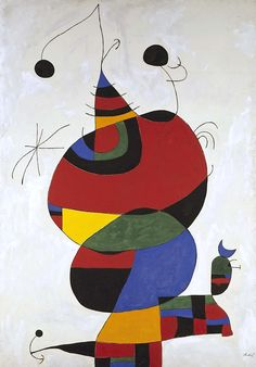 Woman, Bird and Star (Homage to Picasso); Joan Miró, 1988; Museo Nacional Centro de Arte Reina Sofía. One of Miro's last works. Abstract painter from the cubist period. via @ArtLookToday on Facebook.