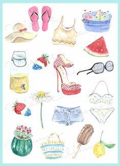 CLIP ART Watercolor Vintage Summer Time Set. 18 by Vianneart