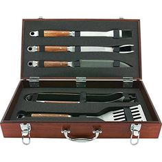 Mr #Bar B Q #02136X #PD #Forged 5-Piece #Set in #Wood #Carrying #Case 5-Piece #forged stainless steel tool #set in genuine hard #wood #carrying #case #Set includes: spatula-fork-tongs-basting brush-knife Diamond Prestige packaging with Lifetime Warranty https://homeandgarden.boutiquecloset.com/product/mr-bar-b-q-02136x-pd-forged-5-piece-set-in-wood-carrying-case/