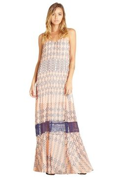 BCBGeneration Lace & Print Crepe A-Line Maxi Dress available at #Nordstrom
