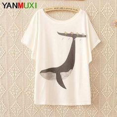 Harajuku Lovely Black Cat Print Casual T Shirts Summer Women Top 2017 Batwing Sleeve Korean Style Loose T-shirt For Women Blusas