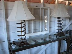 Vintage Industrial Table Lamp with Linen Shade by SnodonIron