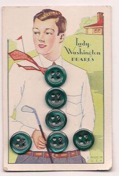 Vintage Button card for Lady Washington Pearls in green.