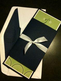 DIY Blue & Green Invites :  wedding blue diy green invitations lined envelopes navy Invite 4