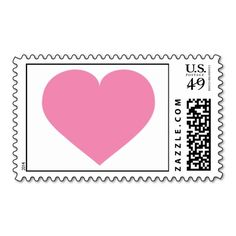 Custom pink heart postage stamp. This is customizable to put a personal touch on your mail. Add your photos or text to design your own stamp that can be sent through standard U.S. Mail. Just click the image to try it out!