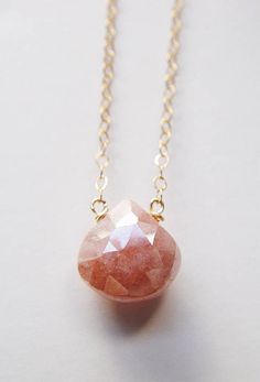 Pearl Moonstone Peach Gold Necklace