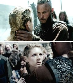 Ragnar and Lagertha, yay!! Finally a pic to see lagertha's braids from the back, so pretty!!