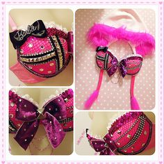 Rebel Barbie  Hot Pink studded bra with matching by lilkittyko, $150.00
