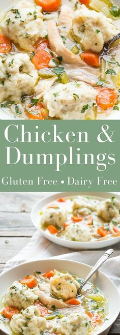 Gluten Free Chicken and Dumplings, its wonderful comfort food and makes an easy weeknight supper!   dairy free  noshtastic.com