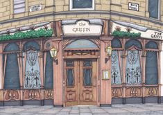 Glasgow Pubs, Pub Bar, Sign Printing, Hand Drawn, How To Draw Hands, Ink, Frame, Artwork, Prints