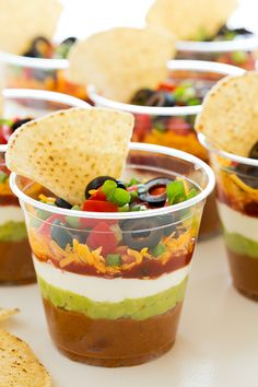 Individual 7 Layer Bean Dips. Perfect for game day!