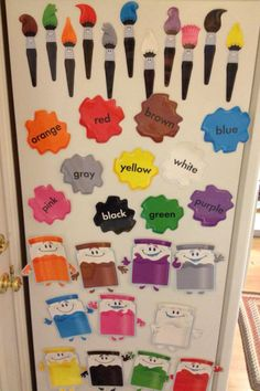 Found these @ a teacher supply store. Laminated then attached magnets! Great matching and color/word recognition!