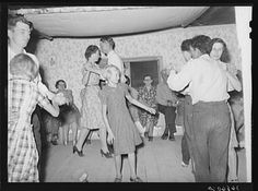 The broom dance at the square dance.Pie Town, New Mexico. The extra girl or man dances around with a broom for a partner. Then drops broom loudly; everyone must change partners and the one left out in the exchange must then dance with the broom (LoC)